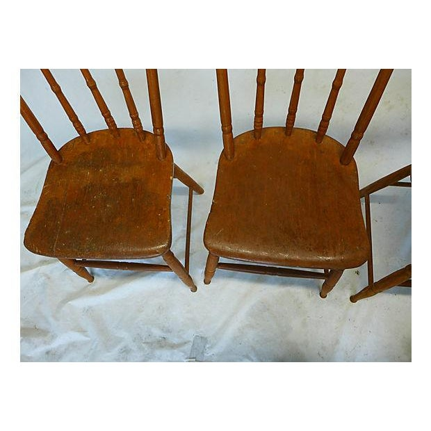Antique Country Style Spindle Back Plank Chairs - Set of 3 - Image 4 of 7 - Antique Country Style Spindle Back Plank Chairs - Set Of 3 Chairish