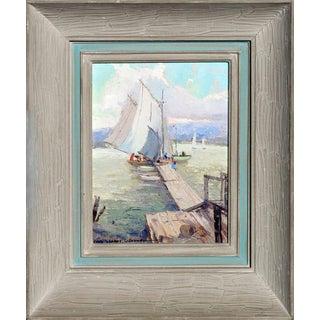 'Bickfords Landing', Gloucester Harbor Original Painting by Nell Gertrude Walker Warner