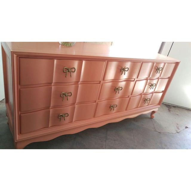 Refinished Vintage Coral Dresser - Image 4 of 5