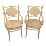 Image of Light Gray Cane Back Chairs - A Pair