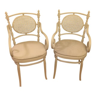 Light Gray Cane Back Chairs - A Pair