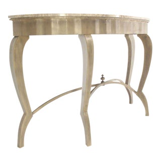 Ovesize Art Deco Silver Leaf with Marble-Top Demilune Console Table