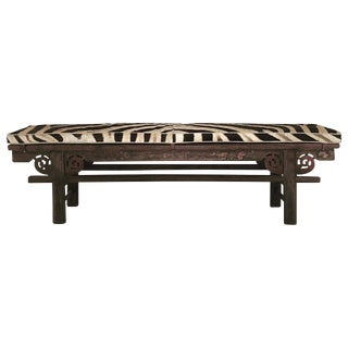 Vintage Chinese Painted Bench with Zebra Cushion