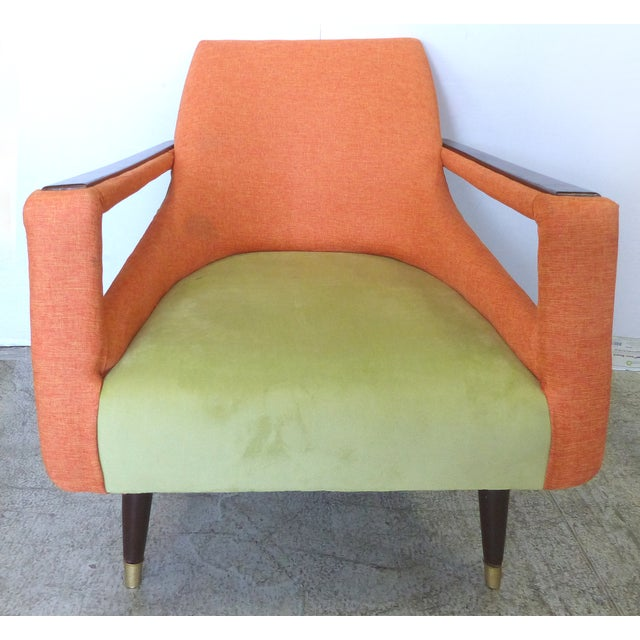 Angled Mid-Century Modern Club Chairs - Pair - Image 5 of 9