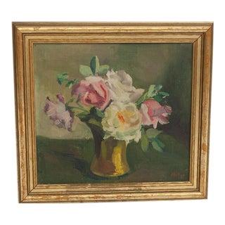 Framed Floral Oil Still Life Painting