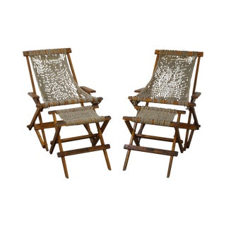 Nagshead Hammock Folding Deck Chair & Ottoman - A Pair