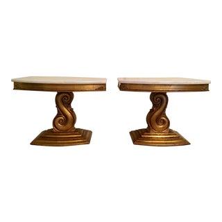 Hollywood Regency Gilt Marble Top End Tables - a Pair