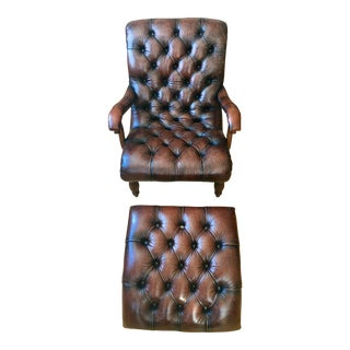 Leather Brown Chair & Foot Stool