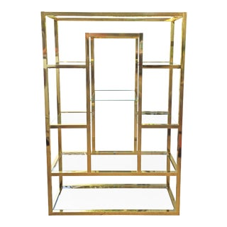 Monumental Brass & Mirror Etagere