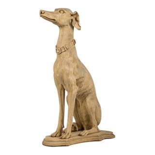 Antique English Life Size Carved Wood Greyhound circa 1890