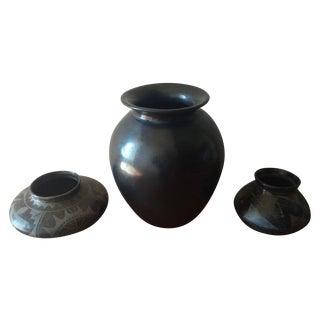 Black Indian Pottery - Set of 3