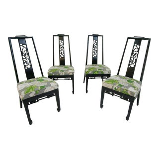 Black Chinoiserie Side Chairs - Set of 4