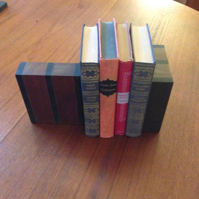 Image of Paul Evans Slate and Walnut Bookends