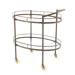 Oval Two-Tier Brass Tea Cart or Serving Table