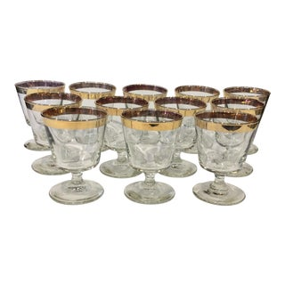 Mid-Century Gold Rim Rocks Cocktail Glasses - Set of 12
