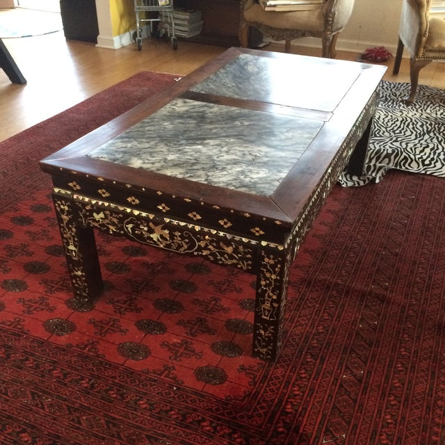 Chinoiserie Mother of Pearl Marble Table - Image 9 of 9