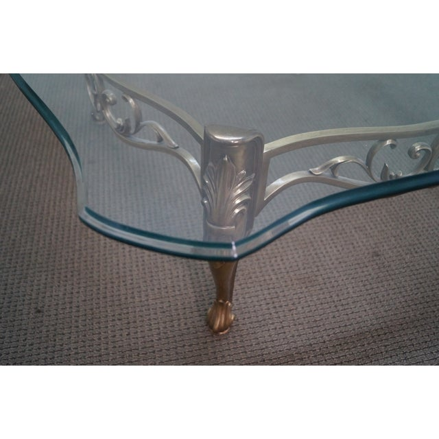 Vintage Brass & Glass French Louis XV Coffee Table