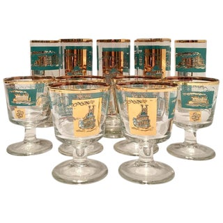 "Mid-Century ""Steamboat"" 22-Karat Gold Drink Glasses - Set of 14"