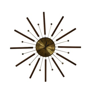 Welby Starburst Walnut & Brass Atomic Wall Clock