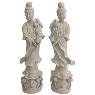 Blanc de Chine Guan Yin Statues - A Pair