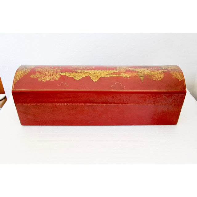 Chinese Orange Leather Tabletop Trunk - Image 6 of 8