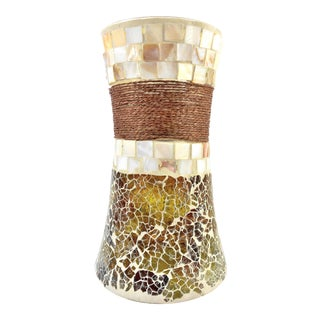 Stained Glass Mosaic Vase with Seashell Tiles and Rope - Large