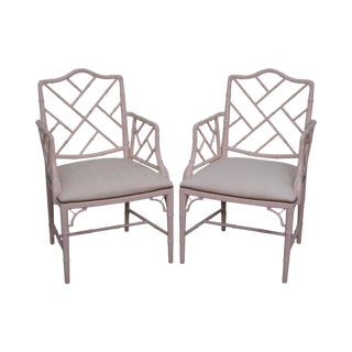 Quality Pair of Chinese Chippendale Style Faux Bamboo Arm Chairs