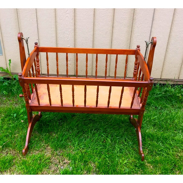 Image of Vintage Traditional Wooden Crib With Stand