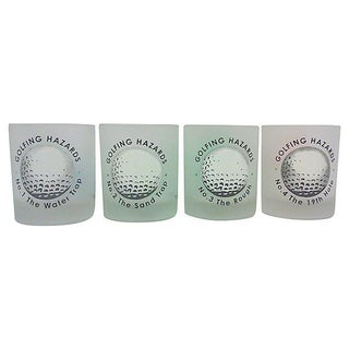 French Golfing Hazard Lowball Glasses- Set of 4