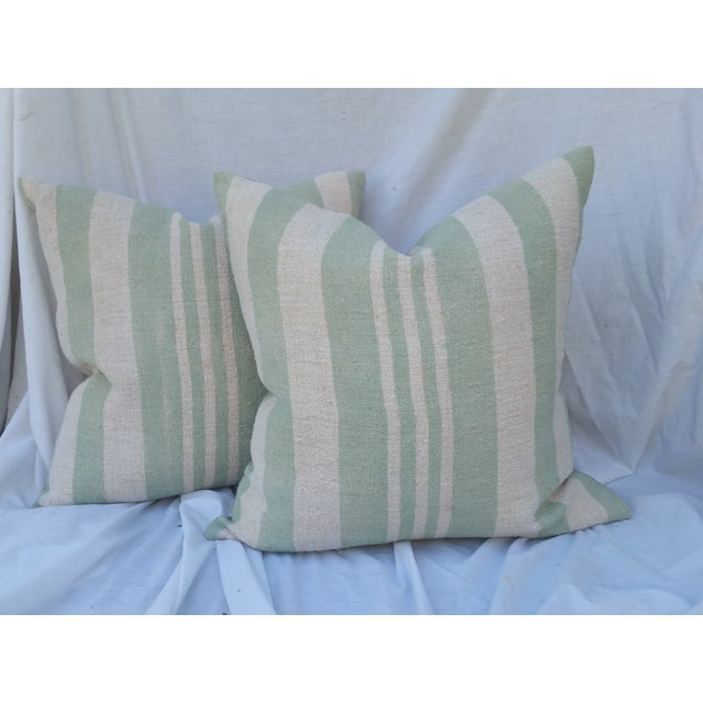 Sage Striped Grain Sack Pillows - Pair - Image 2 of 5