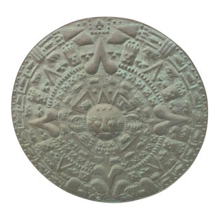 Large Solid Copper Aztec Calendar Wall Sculpture