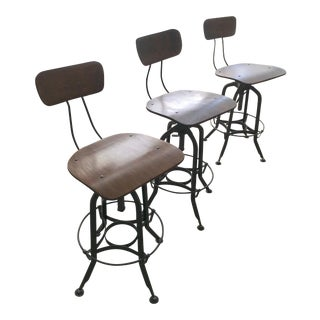 Vintage Restoration Hardware Toledo Bar Chairs - Set of 3