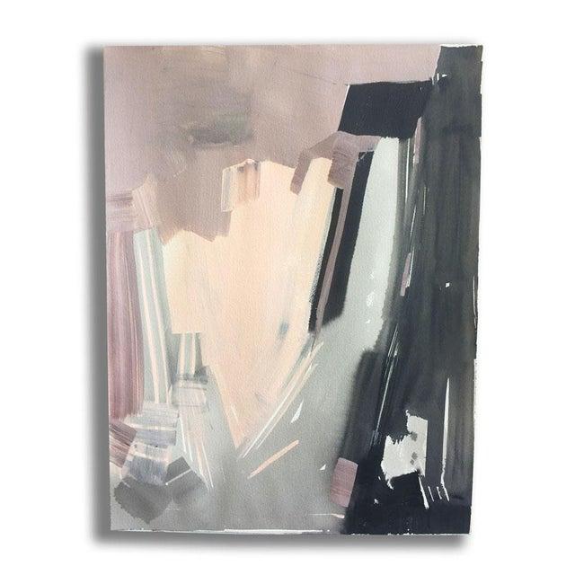 Modern Blush & Black Acrylic Painting - Image 2 of 2