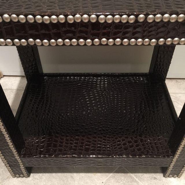 Crocodile-Embossed Leather Side Table - Image 4 of 10
