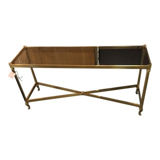Vintage Brass and Beveled Glass Console Table