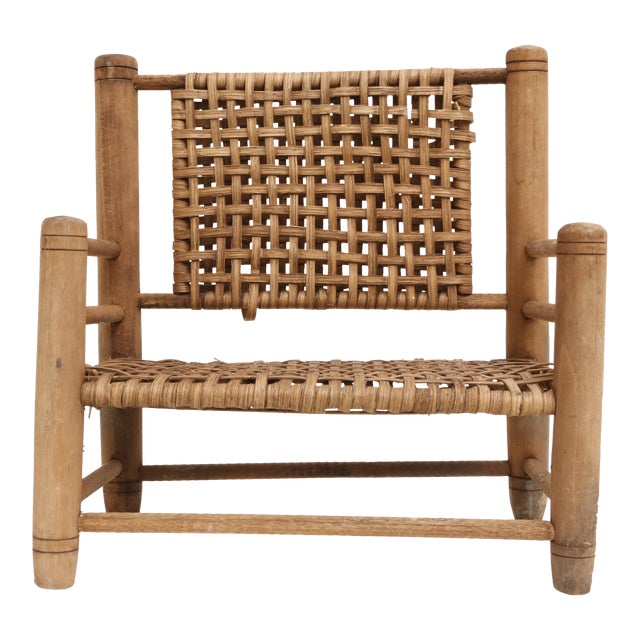 Vintage Mini Wicker Loveseat Sofa Bench