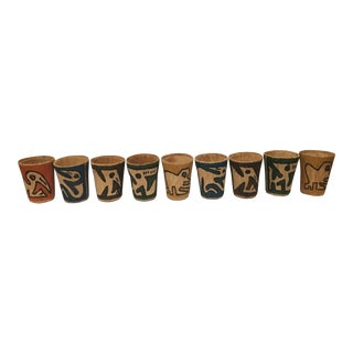 Vintage Tiki Cup Holders - Set of 9