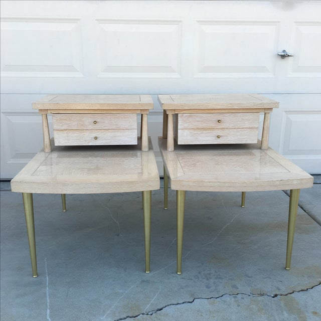 Image of Mid-Century Modern Lane Maple Nightstands - A Pair