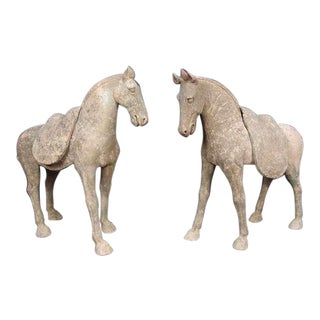 Pair Early Tang Dynasty Grey Pottery Striding Horses with Removable Saddles