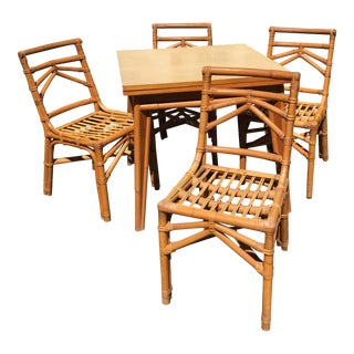 Vintage Table & Rattan Chairs - Set of 5