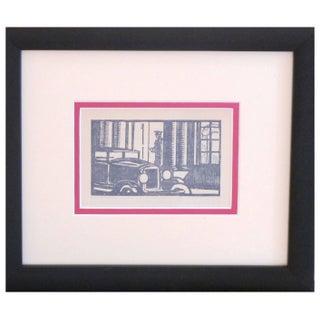 Framed Art Deco Woodblock Print of Car