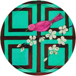 """""""Turquoise Trellis Bird"""" Round Tray"""