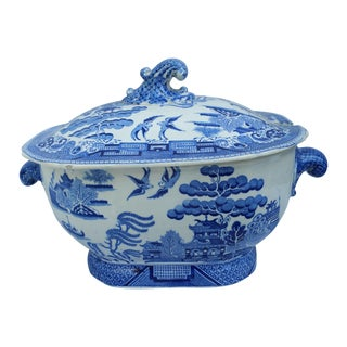 Antique English Victorian Blue & White Soup Tureen