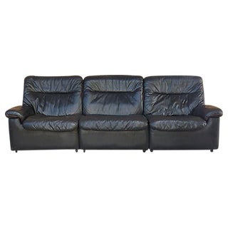 DeSede of Switzerland Black Leather Sofa