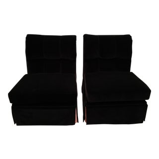 Marge Carson Black Velvet Chairs - A Pair
