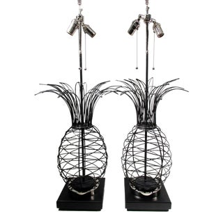 Ferris Shacknove Mid-Century Wire Pineapple Lamps - A Pair