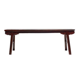 Chinese Distressed Dark Red Long Wood Bench Stool
