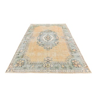 Antique Handwoven Muted Peach Oushak Carpet - 6′6″ × 10′