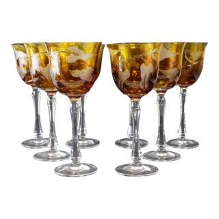 Varga Amber Glass Wine Hocks - Set of 8