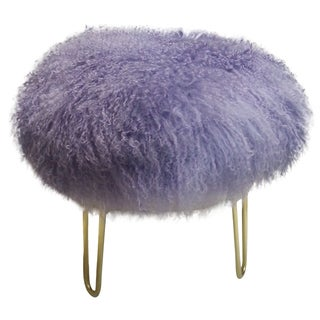 Genuine Mongolian Lavender Lamb Fur Stool